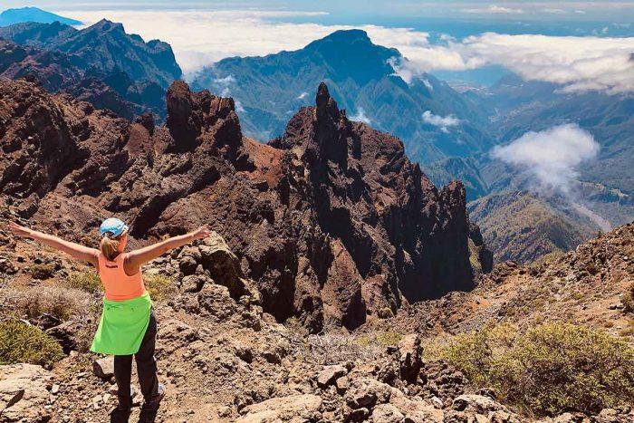 Vista desde el Roque de Los Mucahchos hacia la Caldera de Taburiente